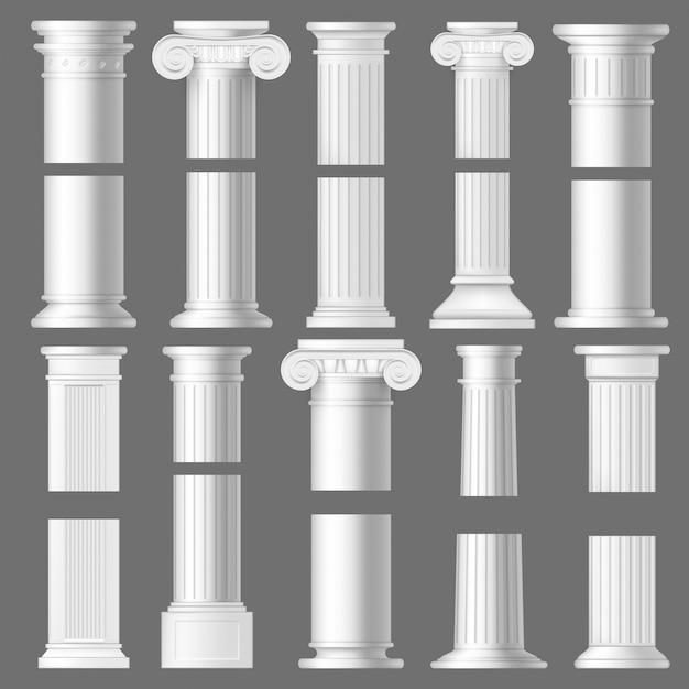 Kolompijler realistische mockups, architectuur Premium Vector