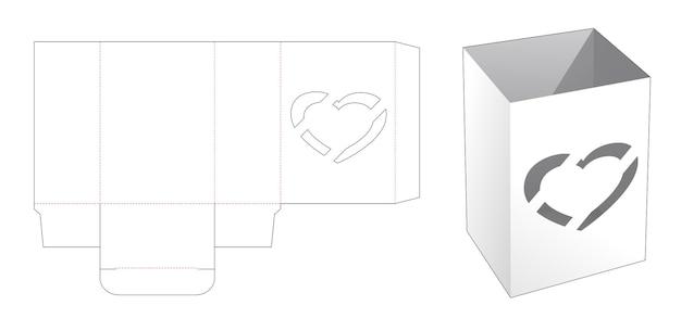Kom doos met hart venster gestanst sjabloon Premium Vector