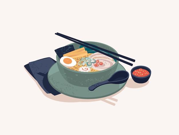 Kom japanse ramen noodles met rundvlees Premium Vector