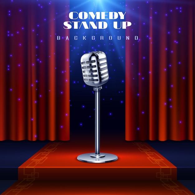 Komedie sta achtergrond op met retro microfoon op het podium en rood gordijn Premium Vector