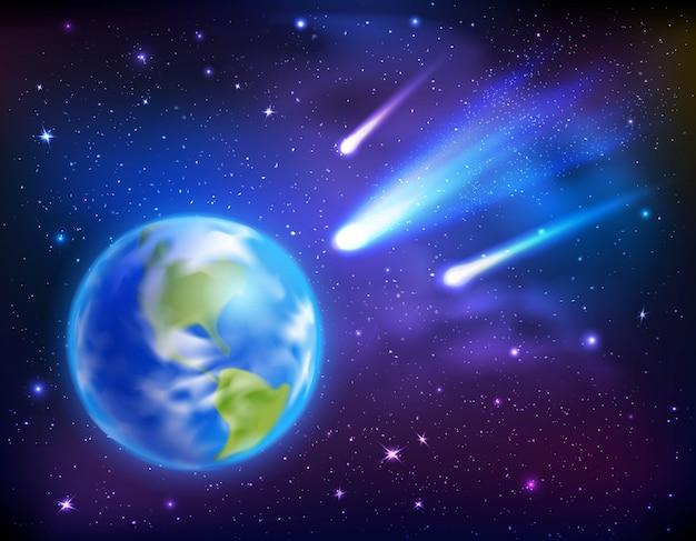 Kometen die naar de achtergrond van de aarde komen Gratis Vector