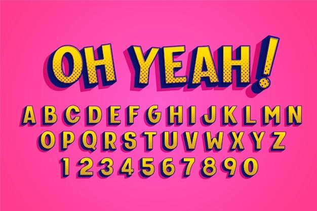Komisch 3d-alfabetontwerp Gratis Vector
