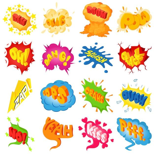 Komisch gekleurde geluidspictogrammen instellen. isometrische illustratie van 25 komische gekleurde geluid vector iconen voor web Premium Vector