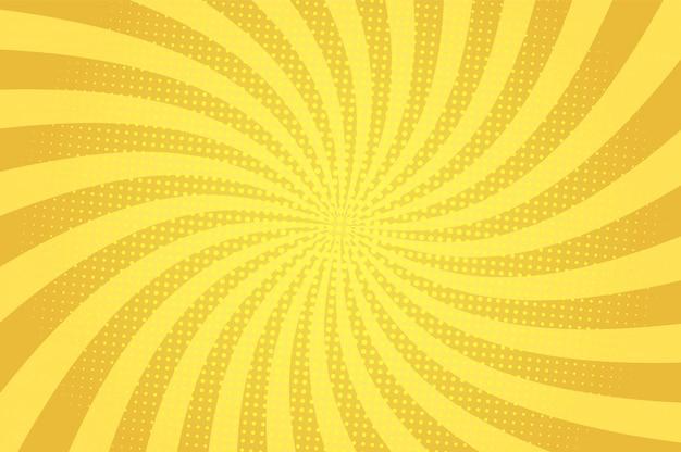 Komische abstracte blauwe achtergrond met radiale stralen en halftoon humor effecten Gratis Vector