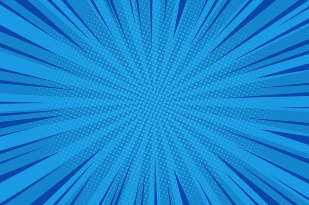 Komische abstracte blauwe achtergrond Gratis Vector