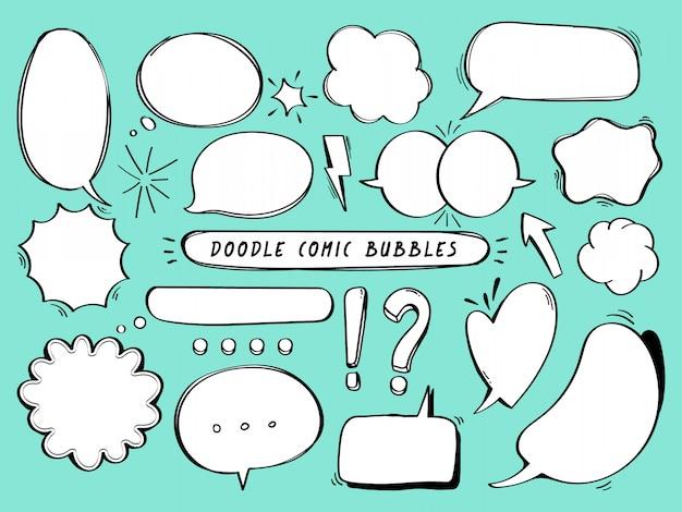 Komische bubbels doodle set. Premium Vector