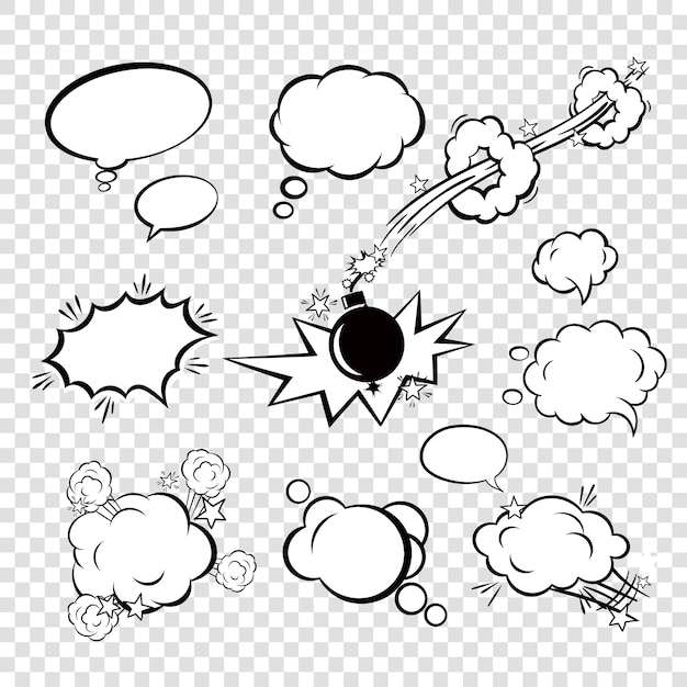 Komische bubbels instellen Gratis Vector