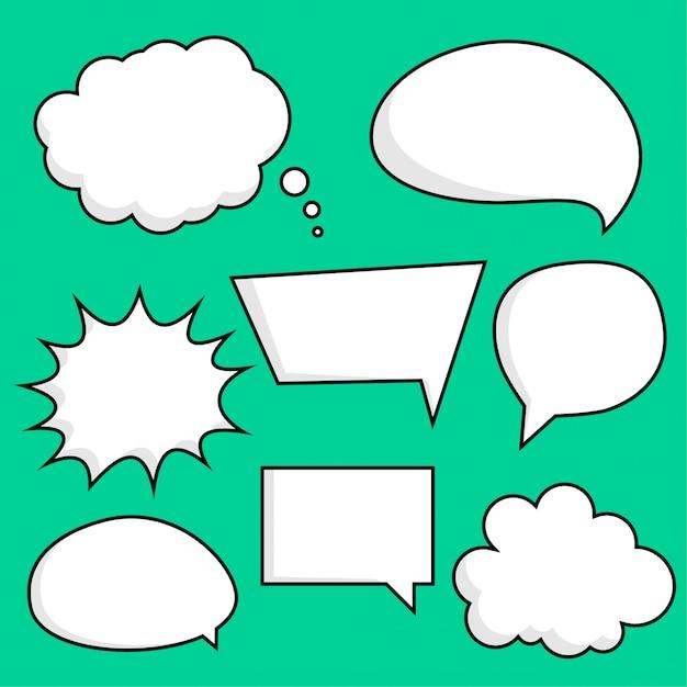 Komische chat bubbels sticker set Gratis Vector