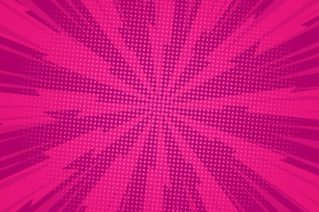 Komische explosieve rode sjabloon met gedraaide stralen en stippen humoreffecten Gratis Vector