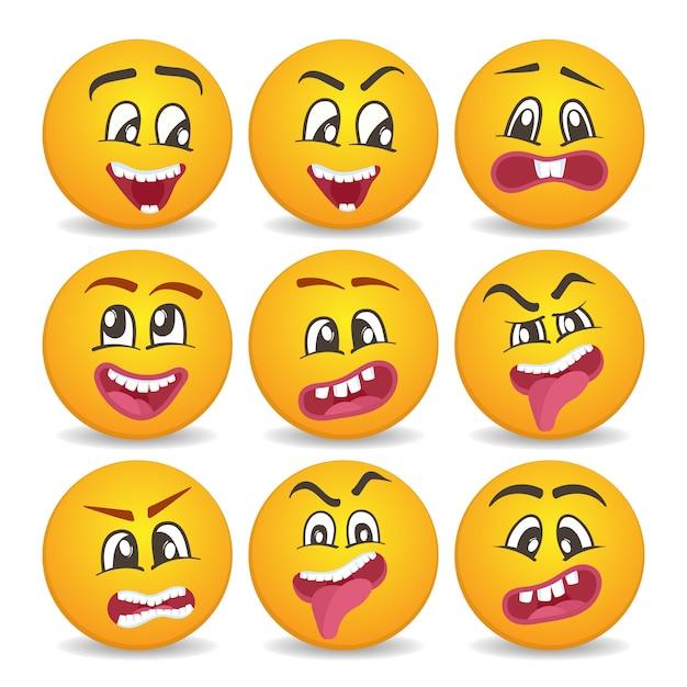 Komische gele gezichten pictogrammen instellen Premium Vector