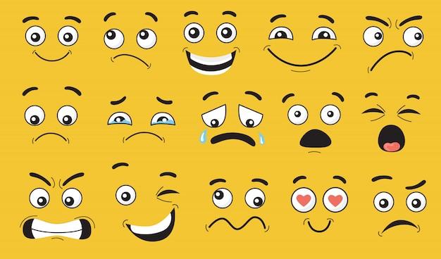 Komische gezichtsuitdrukkingen ingesteld Gratis Vector