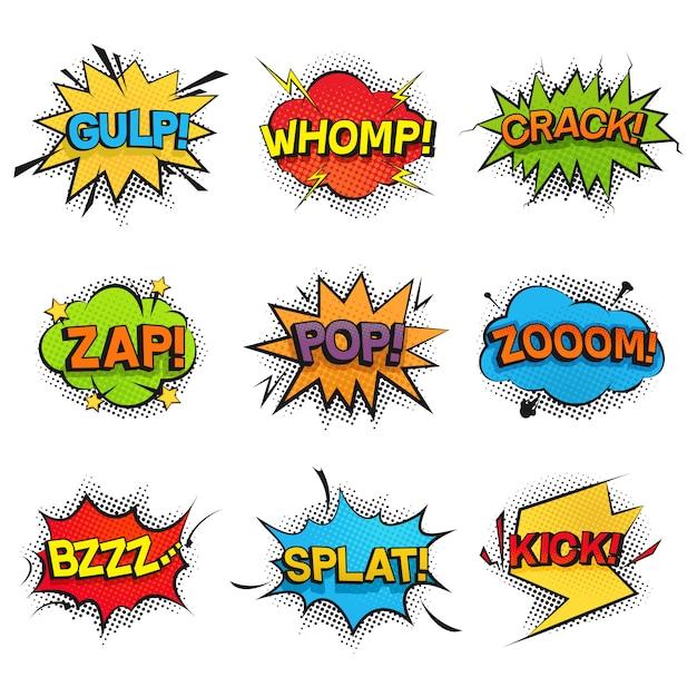 Komische grappige spraak bubbels collectie. set geluidseffecten, geluid, gerommel, zoemen, kraken en crashen. kleurrijke pop-art retro-stijl voor stripboeken Premium Vector