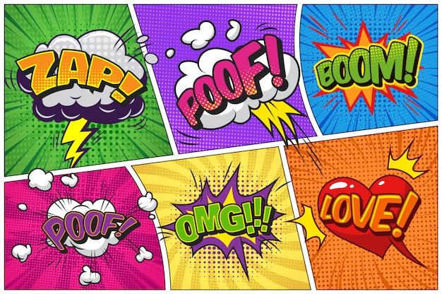 Komische heldere sjabloon met tekstballonnen op kleurrijke frames Gratis Vector