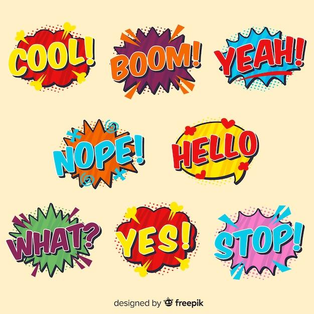 Komische kleurrijke tekstballonnen Gratis Vector