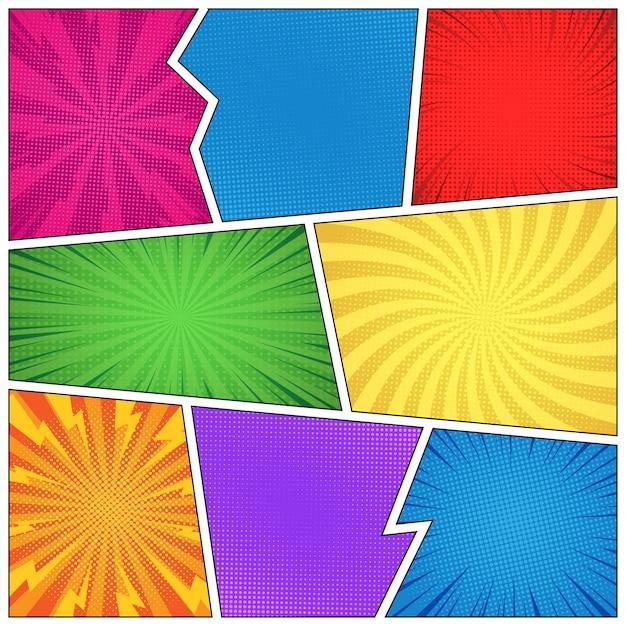 Komische lege paginasjabloon met verschillende humoreffecten en kleurrijke kaders Gratis Vector