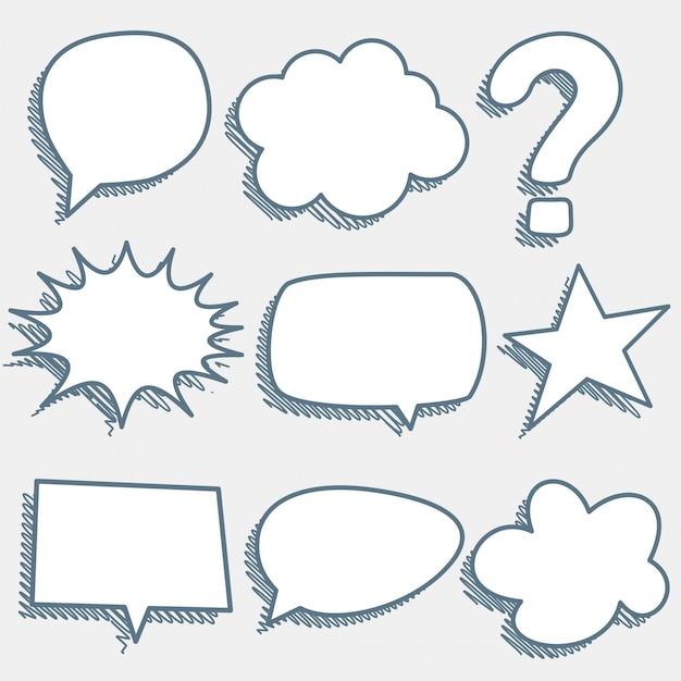 Komische praatjebellen en -uitdrukkingen in schetsstijl Gratis Vector