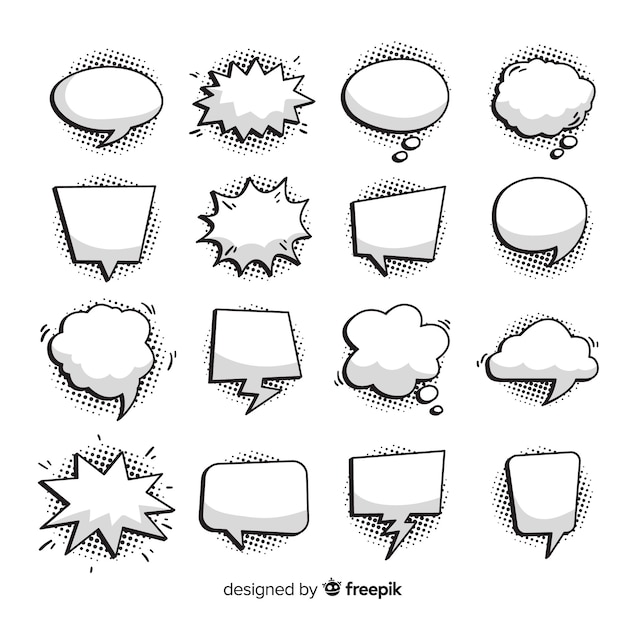 Komische speech bubble-collectie Premium Vector
