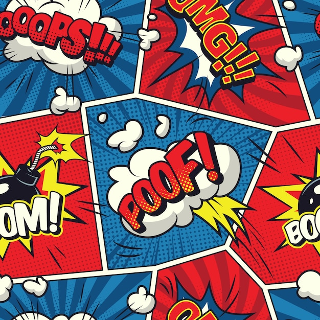 Komische spraak bubbels naadloze patroon Gratis Vector