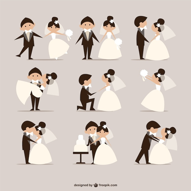 Komische stijl bruiloft elementen vector Gratis Vector