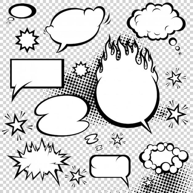 Komische stijl tekstballonnen collectie Premium Vector