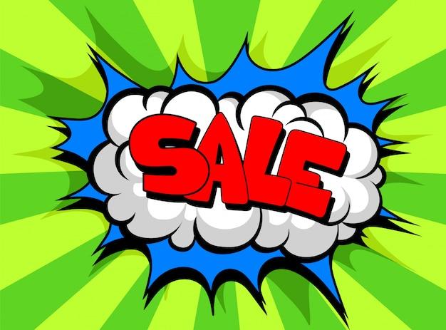 Komische tekstballon met tekst verkoop, geluidseffect wolk van kleur zin illustratie Premium Vector