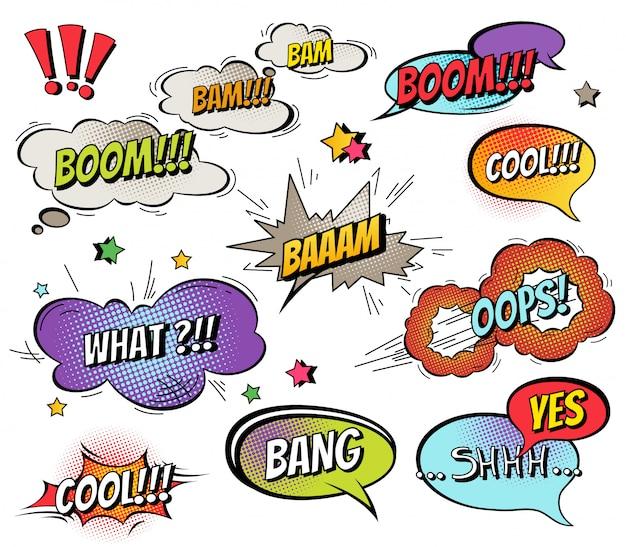 Komische tekstballonnen en spatten ingesteld met verschillende emoties en tekst Premium Vector