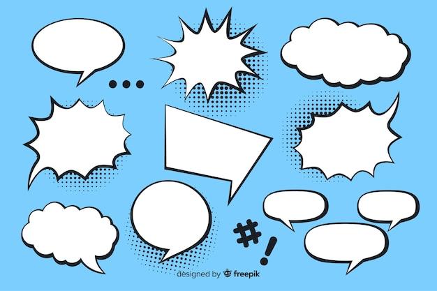 Komische toespraak bubble collectie blauwe achtergrond Premium Vector