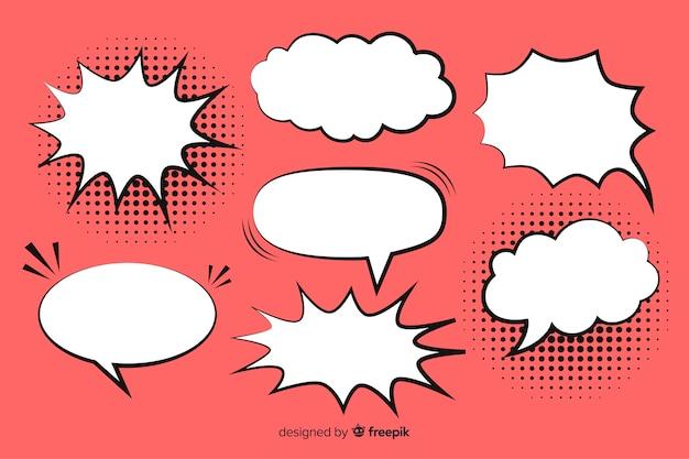 Komische toespraak bubble collectie roze achtergrond Gratis Vector