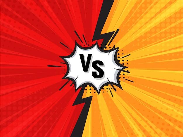 Komische vechtende cartoon achtergrond. rood versus geel. vector illustratie. Premium Vector
