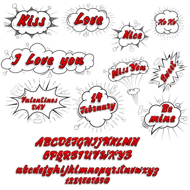 Komische verzameling liefde en lettertype 3d, gekleurde geluid chat tekst effecten popart vector stijl. 3d-lettertype. Premium Vector