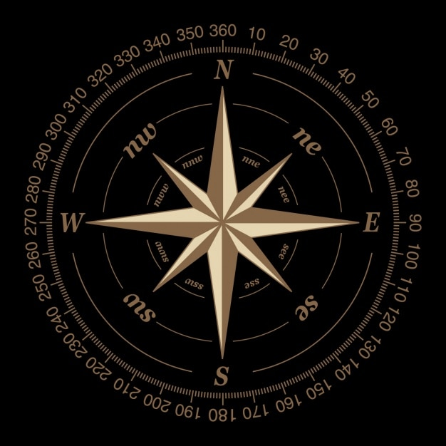 Kompas op een zwarte achtergrond Gratis Vector