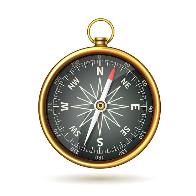 Kompas realistisch geïsoleerd Gratis Vector