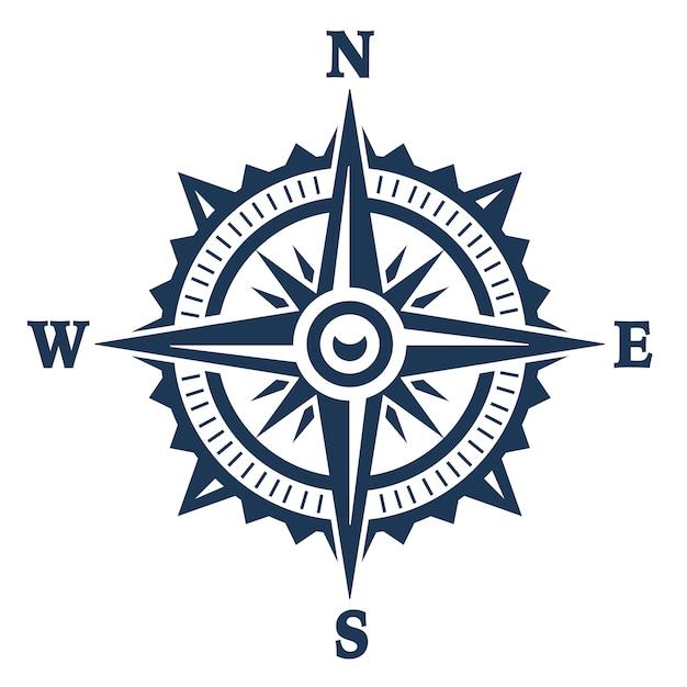 Kompas windroos pictogram geïsoleerd op wit. vector illustratie. Premium Vector