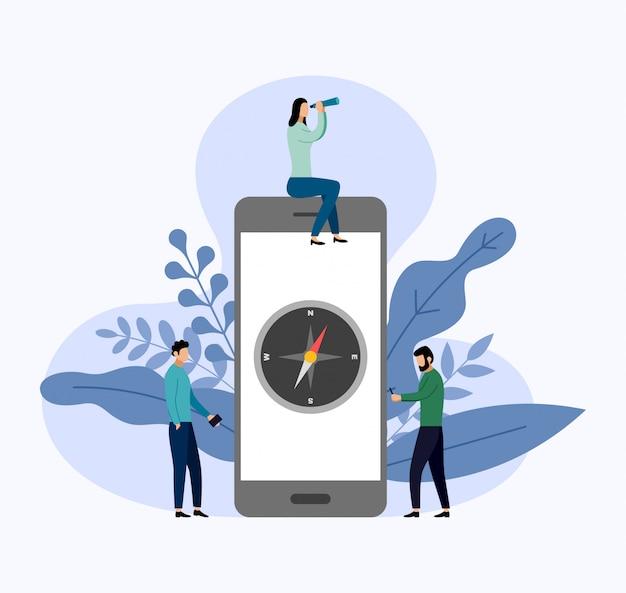 Kompasroos op smartphone in vlakke stijl Premium Vector