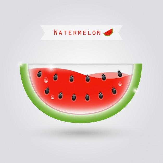 Komvormige watermeloen met rode vloeistof binnen Gratis Vector