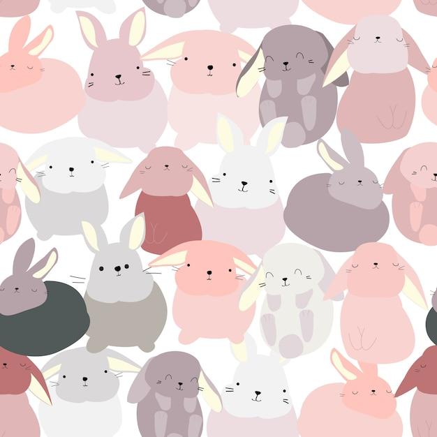 Konijn bunny cute cartoon patroon Premium Vector