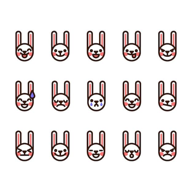 Konijn emoji pictogrammen Premium Vector
