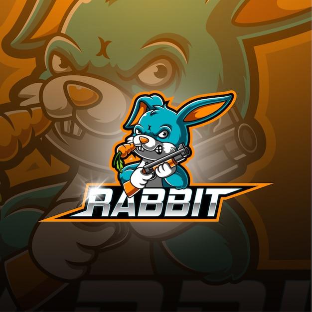 Konijn esport mascotte logo Premium Vector