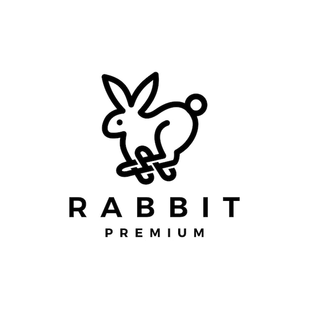 Konijn haas overzicht monoline logo pictogram illustratie Premium Vector