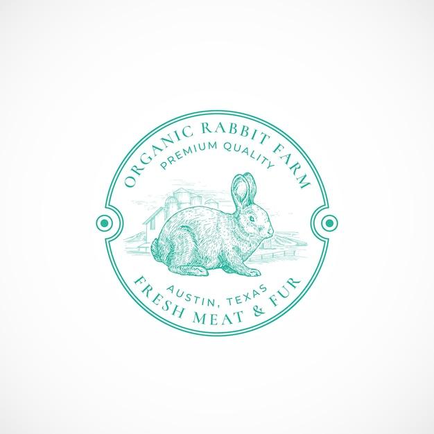 Konijnenboerderij ingelijst retro badge of logo sjabloon Gratis Vector