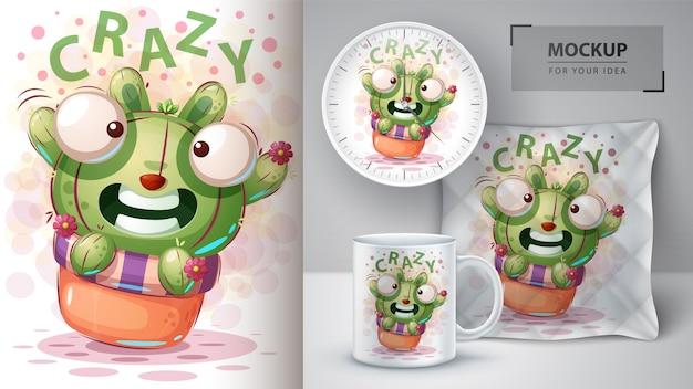 Konijnencactus poster en merchandising Premium Vector