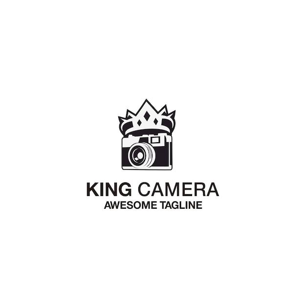 Koning camera logo sjabloonontwerp Premium Vector