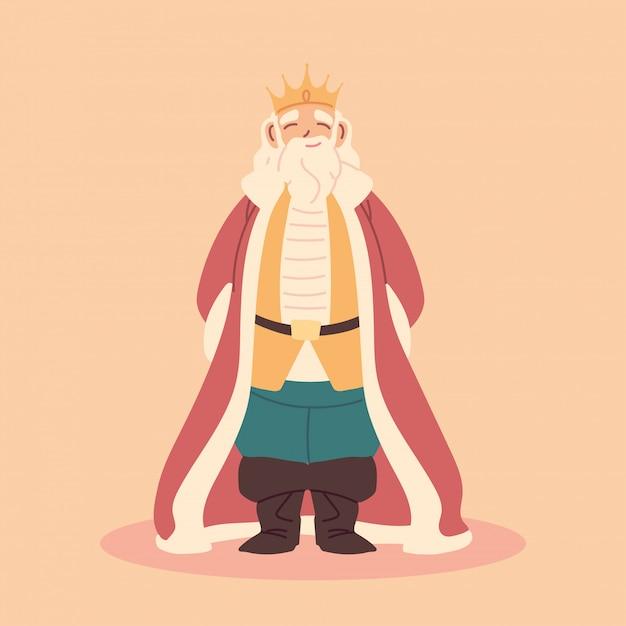 Koning, dikke man met kroon en koninklijke gewaden, vorst Premium Vector