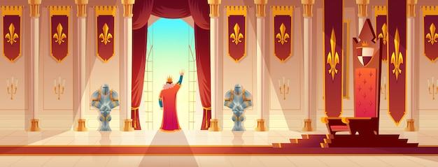 Koning groet menigte van balkon cartoon Gratis Vector