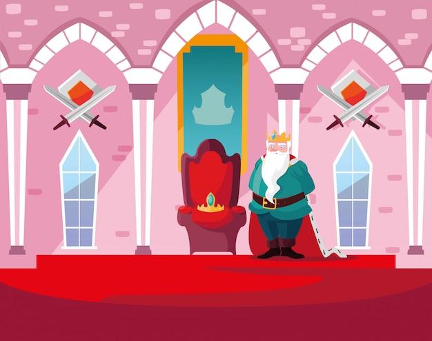 Koning in het kasteelsprookje met decoratie Premium Vector