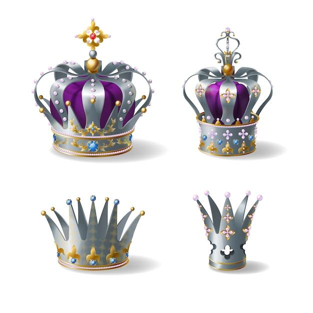 Koning, koningin zilver, gouden of platina kroon versierd met edelstenen en parels, paarse zijde, fluweel Gratis Vector