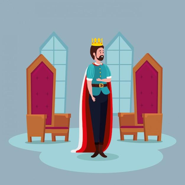 Koning met stoelen in kasteelsprookje Gratis Vector