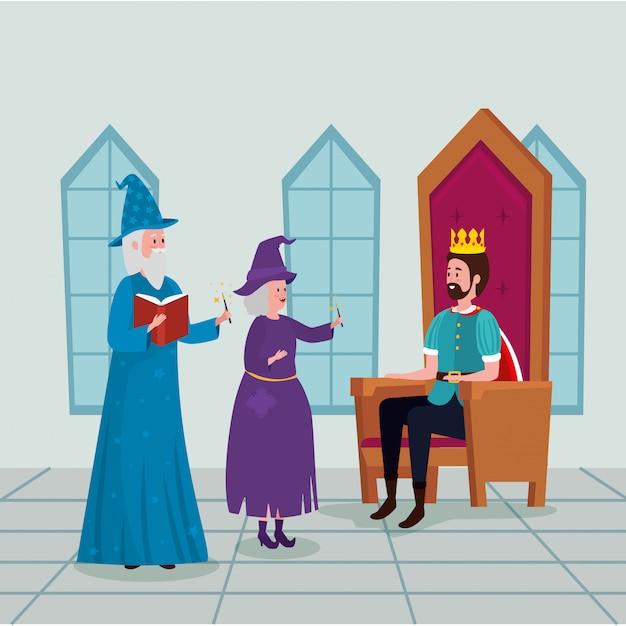Koning met tovenaar en heks in kasteel Gratis Vector