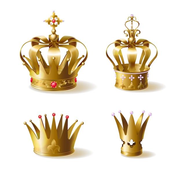 Koning of koningin gouden kronen versierd met kostbare edelstenen Gratis Vector