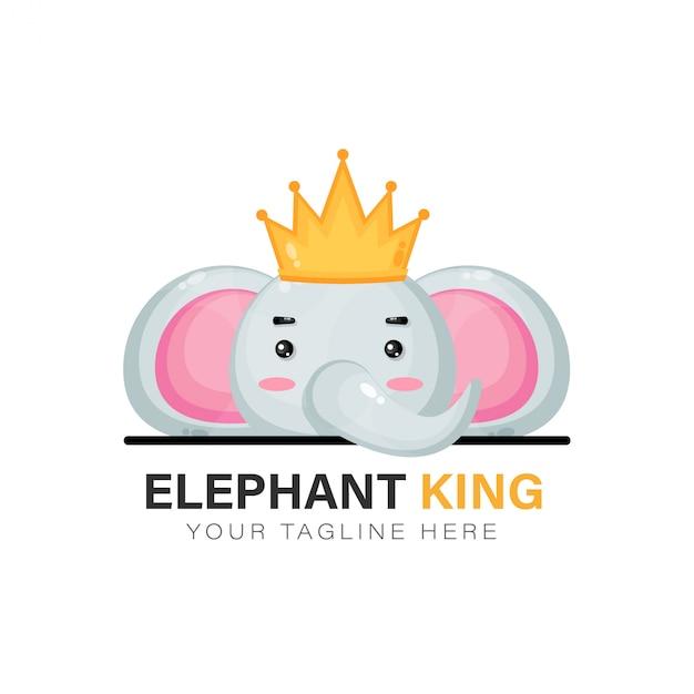 Koning olifant logo ontwerp Premium Vector